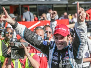 Simon Pagenaud lets everyone know who came out number one in the first running of the Grand Prix of Indianapolis. Source: The Indianapolis Star