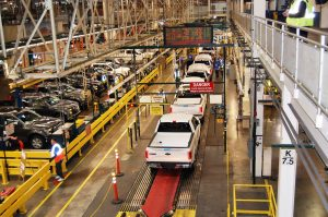 A line of new aluminum F-150s roll down the assembly line at the Ford Rouge Plant. Photo by Laura Sky Brown