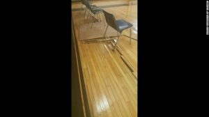 An example of an un-repaired gym floor in the Detroit  Public School System, which can be considered a safety hazard